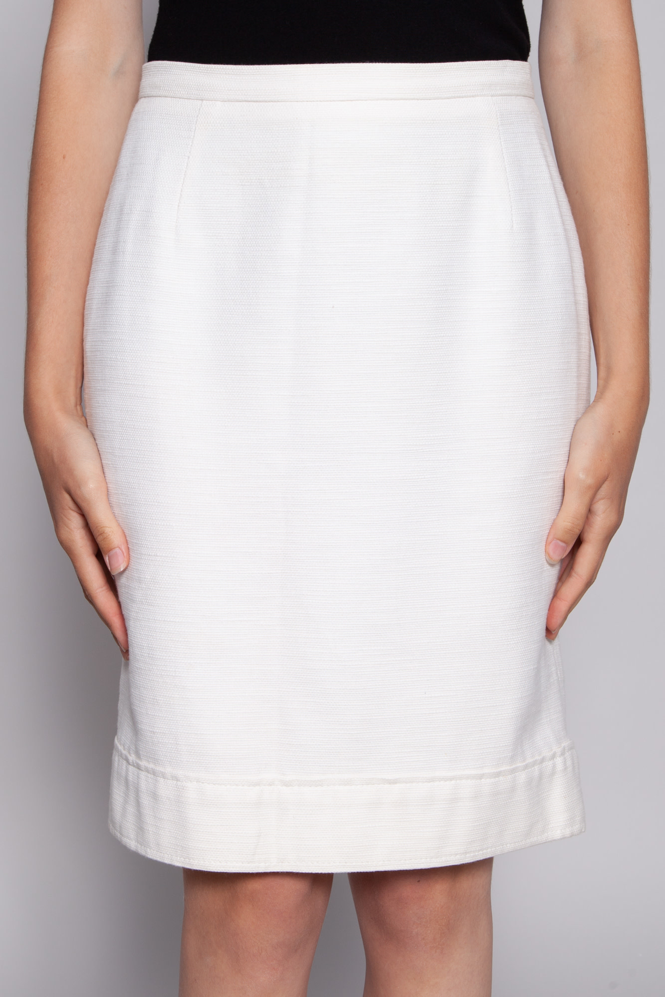 MaxMara WHITE WOVEN COTTON SKIRT