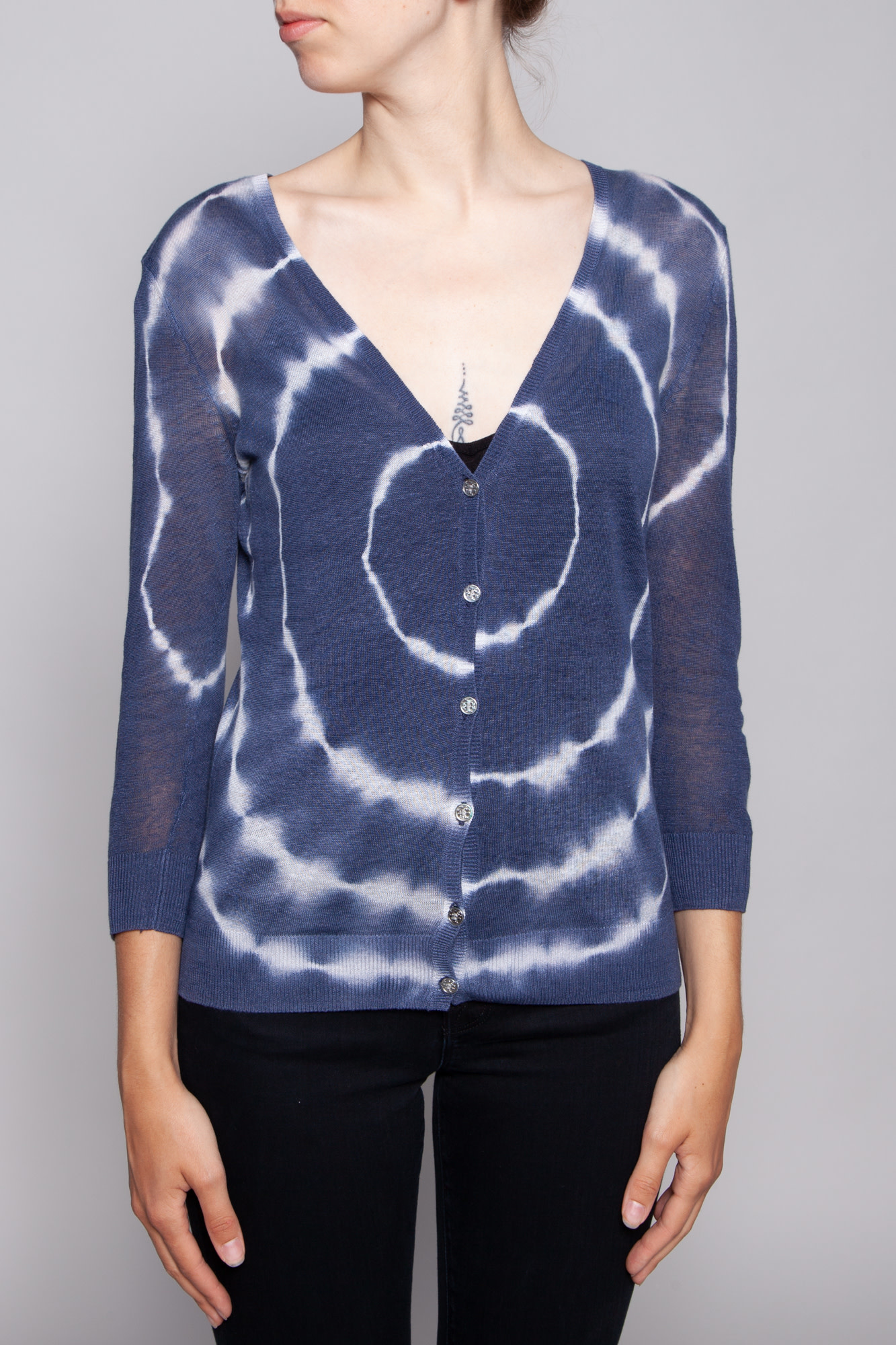 Tory Burch BLUE AND WHITE 3/4 SLEEVE CARDIGAN