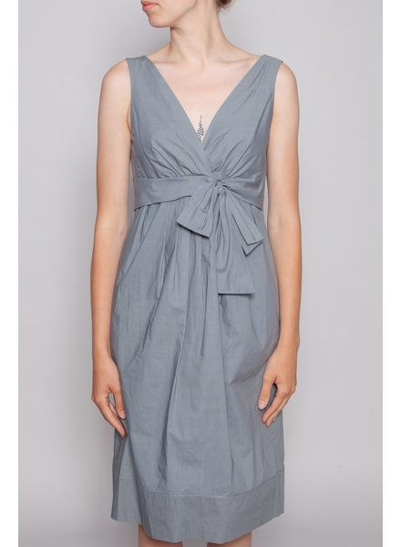Lida Baday GREY COTTON DRESS WITH FRONT BOW