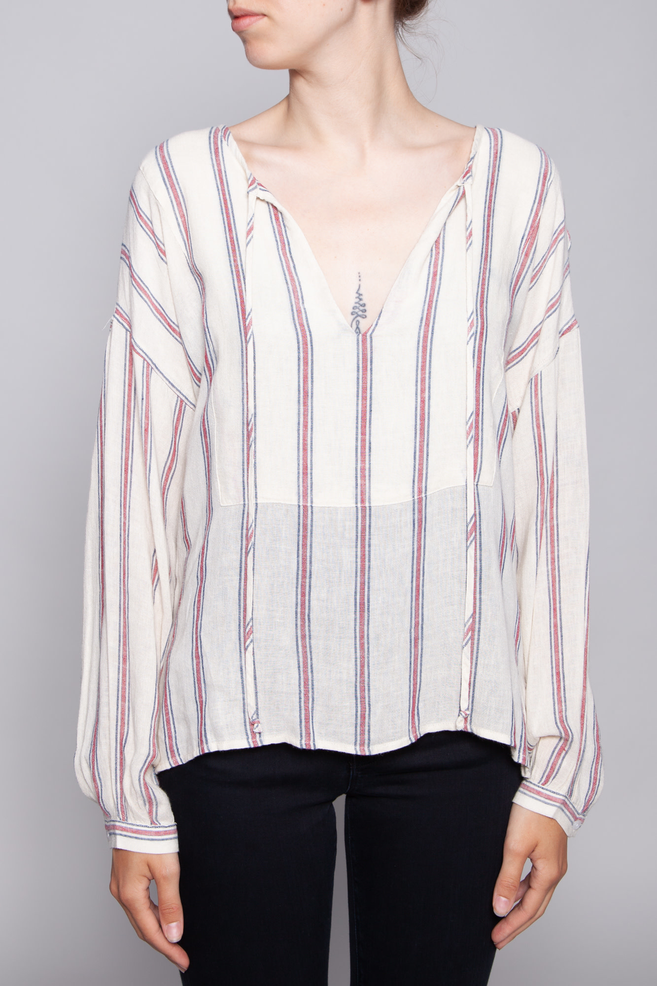 Rails OFF-WHITE BLOUSE WITH RED AND NAVY STRIPES - NEW