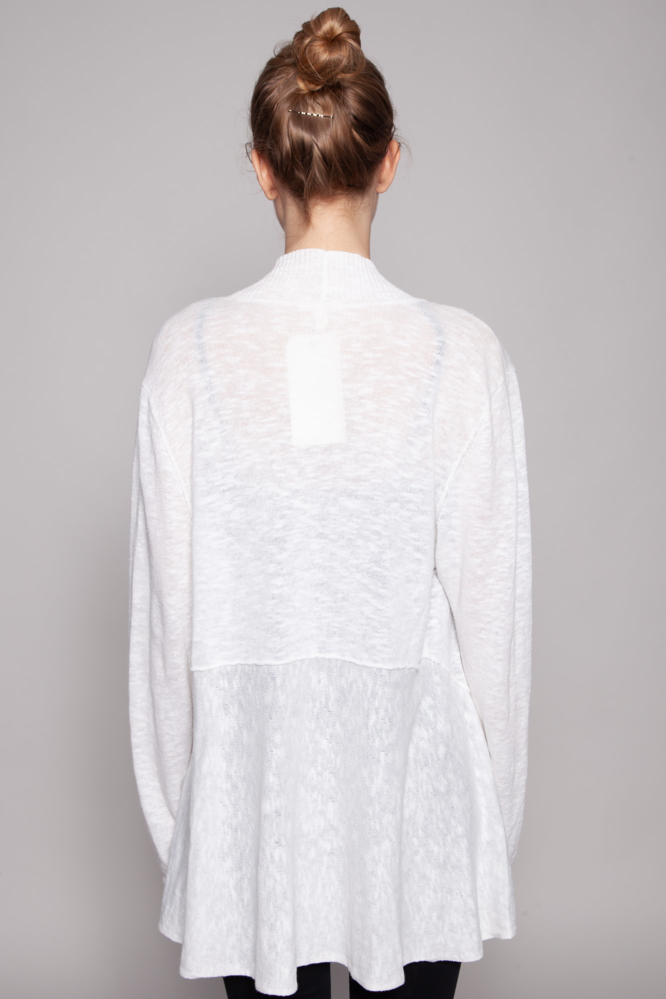 Eileen Fisher OFF-WHITE LINEN AND COTTON CARDIGAN