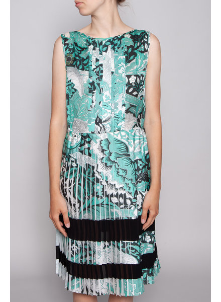 Jonathan Saunders PLEATED DRESS WITH TURQUOISE  FLOWER PRINT