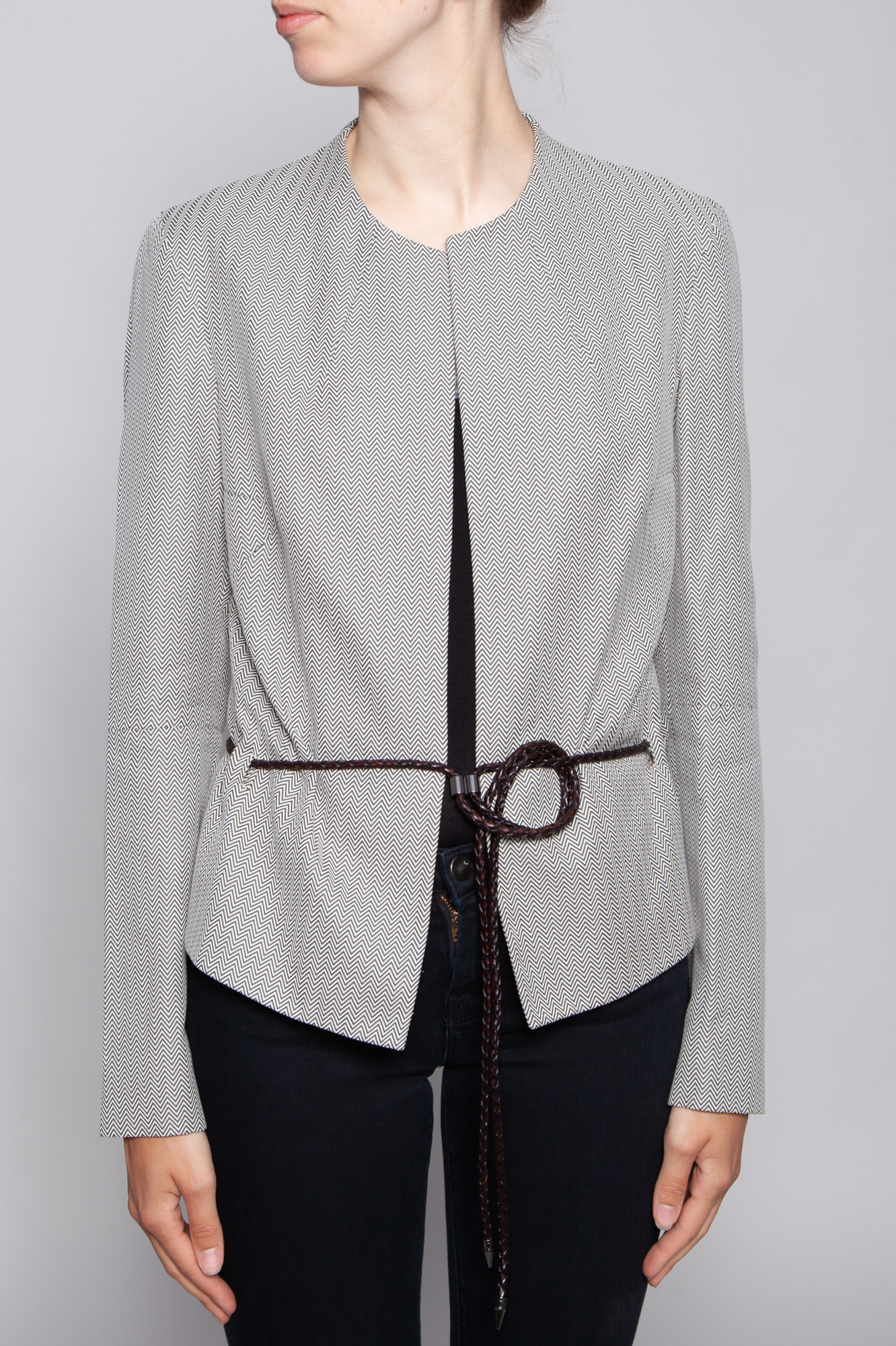 John Bartlett  BLACK AND WHITE PATTERNED JACKET WITH LEATHER BELT