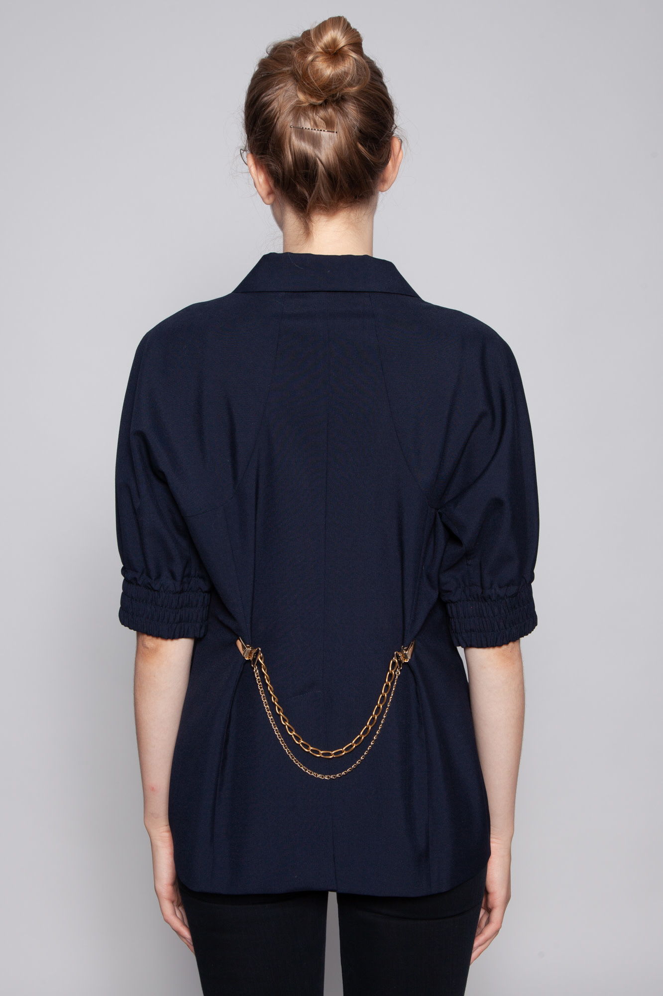 Nina Ricci NAVY JACKET WITH SHORT SLEEVES AND CHAIN ON THE BACK