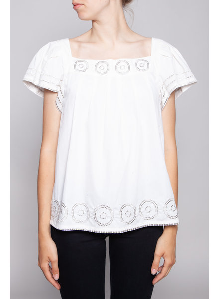 Kate Spade OFF-WHITE COTTON TOP WITH SQUARE NECK AND SILVER DETAILS