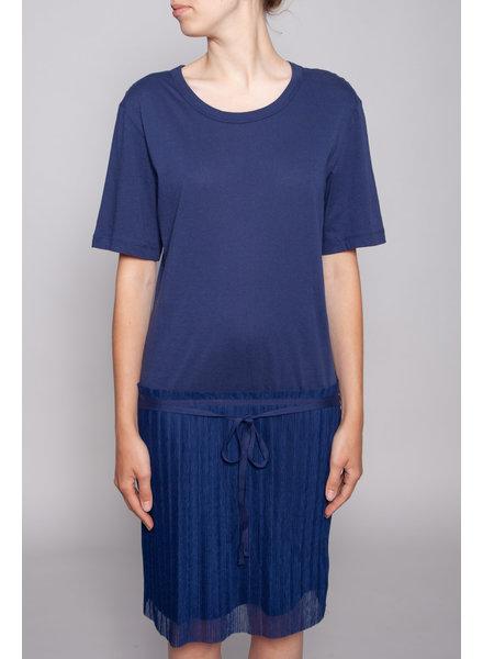 See by Chloe DARK BLUE BI-MATERIAL DRESS - NEW