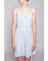 Rails BLUE AND OFF-WHITE CHECK DRESS WITH LINEN - NEW