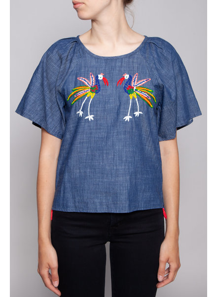 Banjanan CHAMBRAY TOP WITH COLORFUL BORD EMBROIDERY