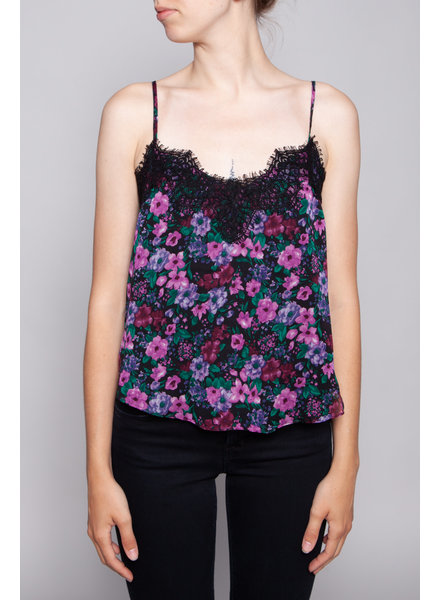 Heartloom FLOWER-PRINT AND BLACK LACE TOP - NEW