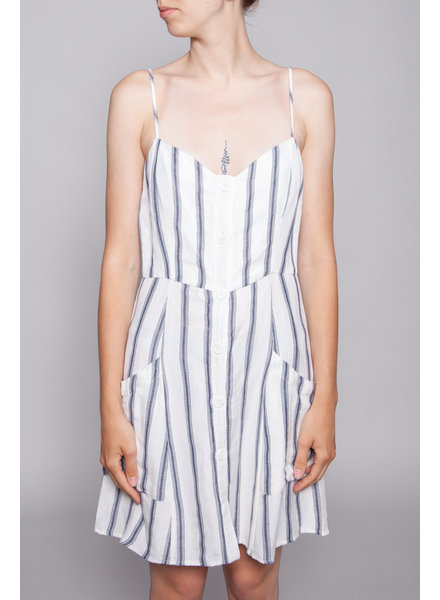 Rails OFF-WHITE DRESS WITH BLUE STRIPES AND LINEN - NEW