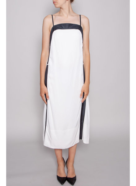 See by Chloe WHITE DRESS WITH BLACK STRIPES
