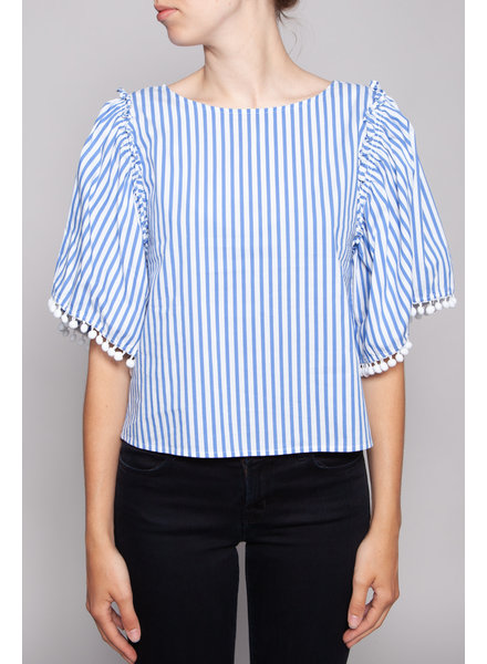 Ella Moss BLUE STRIPED TOP WITH POMPOMS ON THE SLEEVES