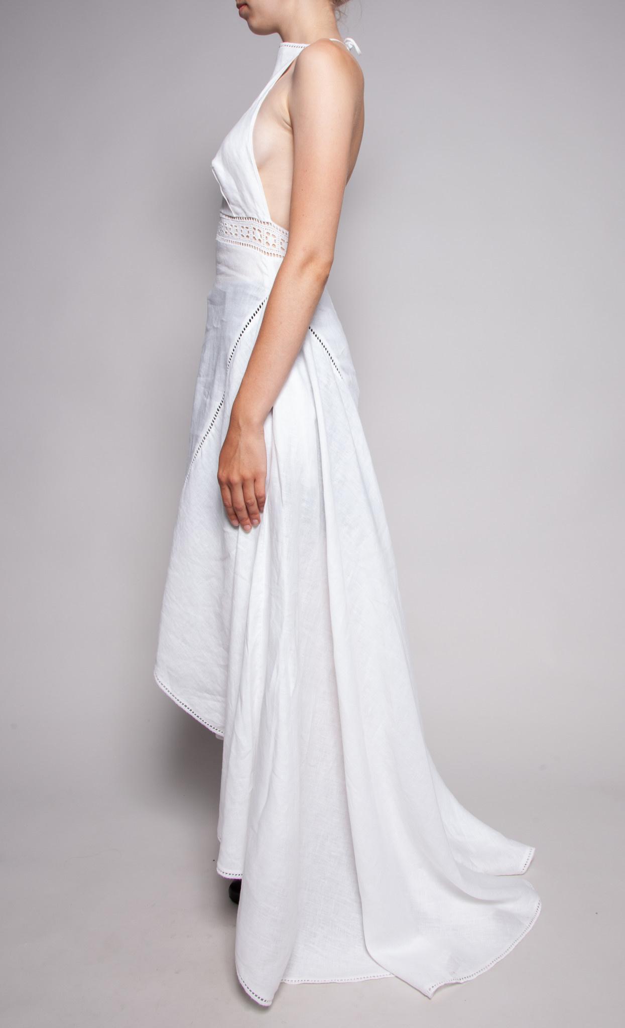 Denis Gagnon LONG WHITE LINEN DRESS