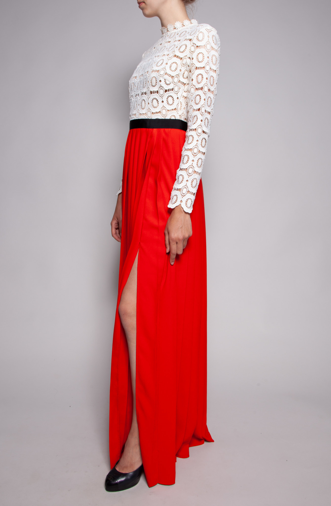 Self-Portrait LONG WHITE AND RED DRESS WITH LACE TOP