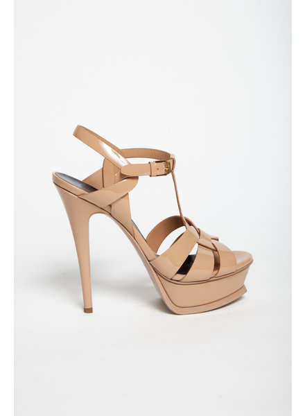 Saint-Laurent Paris ESCARPINS VERNIS BEIGE EN CUIR