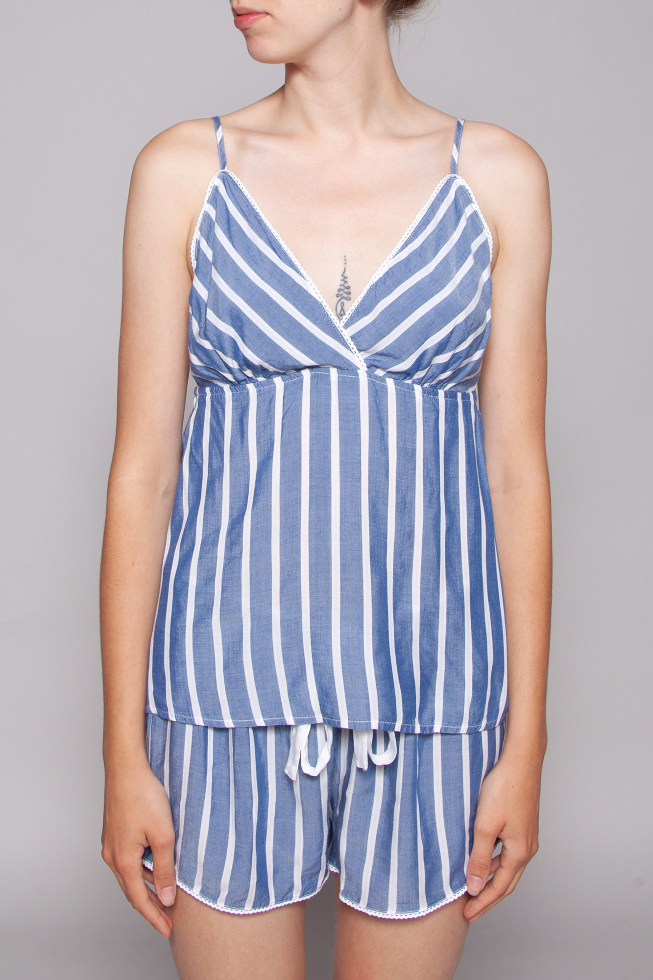 Rails BLUE PAJAMAS SET WITH WHITE STRIPES - NEW WITH THE TAG