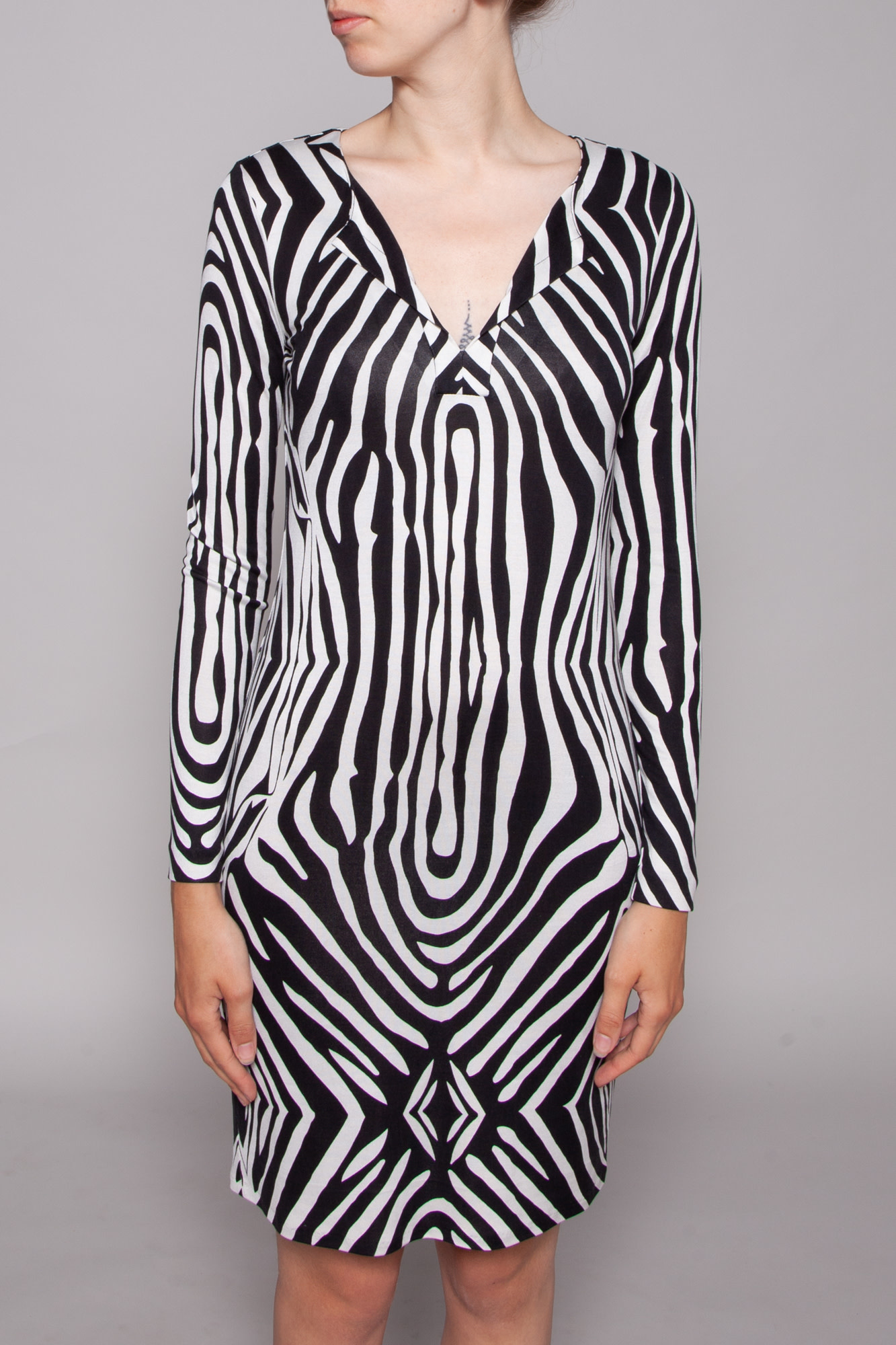 Diane von Furstenberg FITTED ZEBRA PRINT SILK DRESS