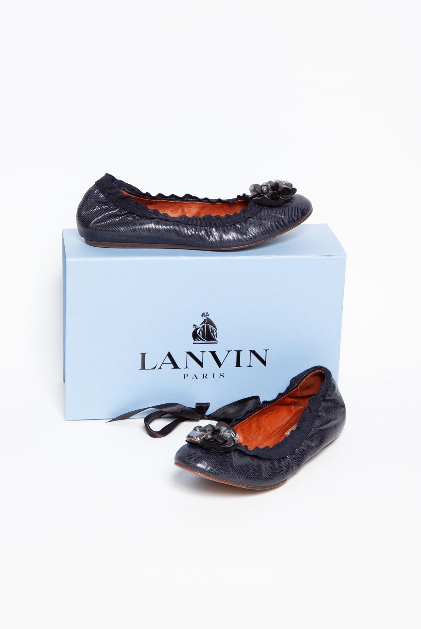 Lanvin MIDNIGHT BLUE LEATHER BALLERINAS