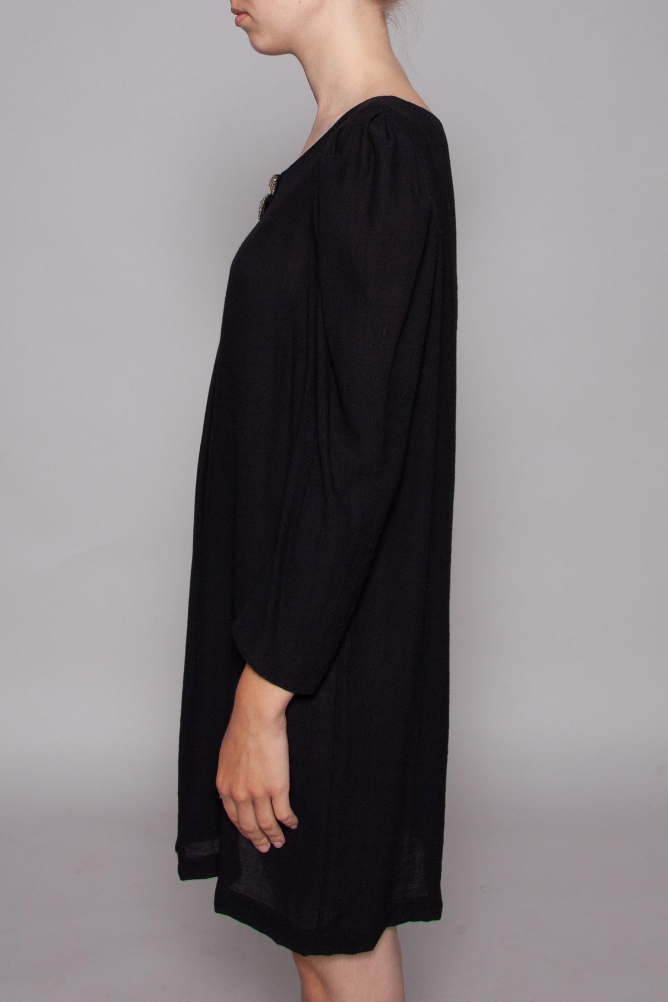 Sandro BLACK DRESS WITH RHINESTONE BOW