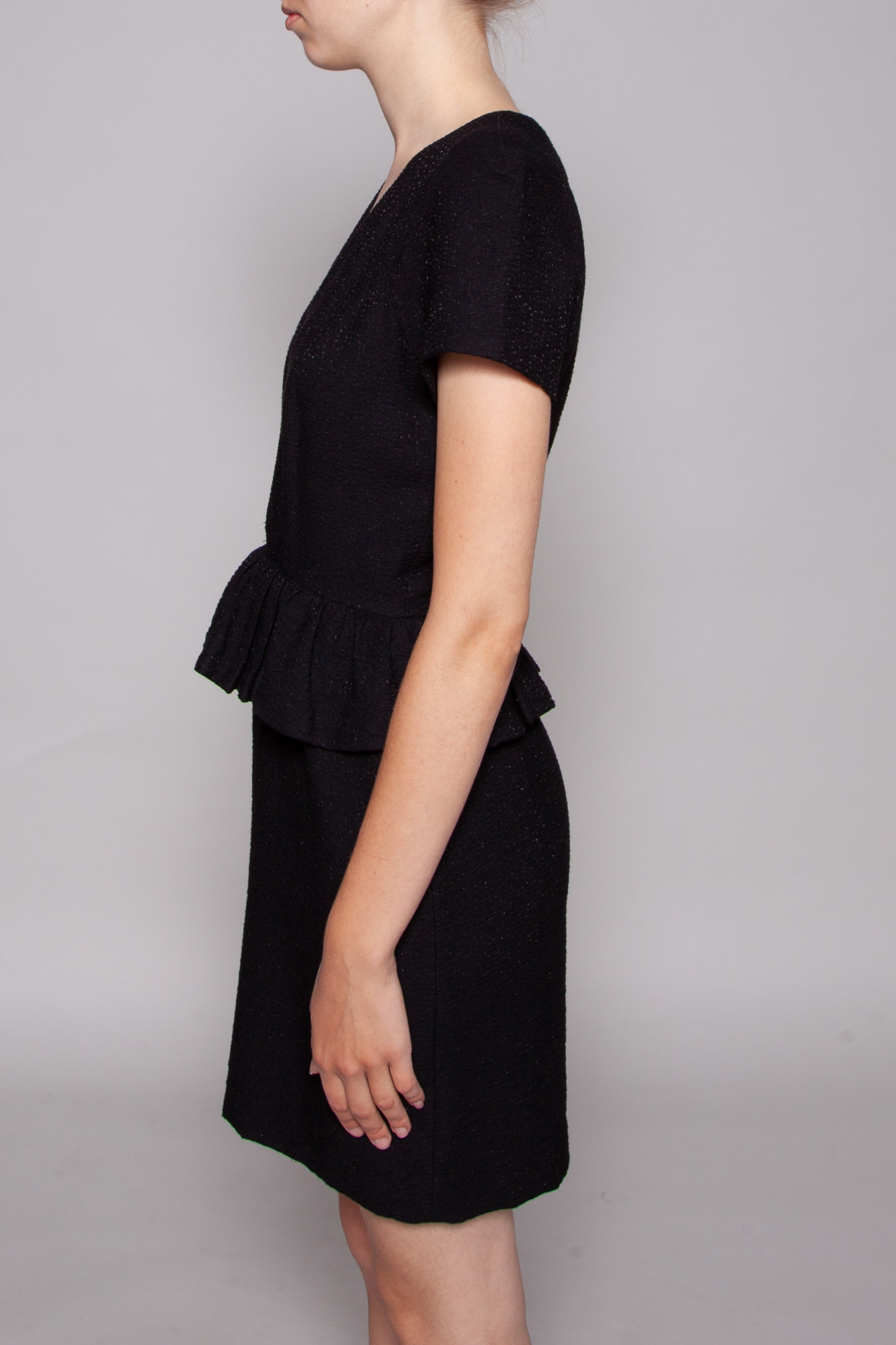 Sandro BLACK DRESS WITH ZIPPER AND WAIST PEPLUM