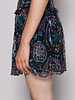 Berenice SHORT NAVY BLUE SKIRT WITH PRINT AND GOLD DETAILS