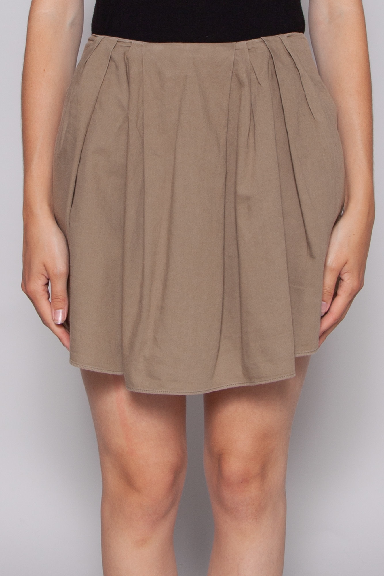 The Kooples SHORT PLEATED KHAKI SKIRT