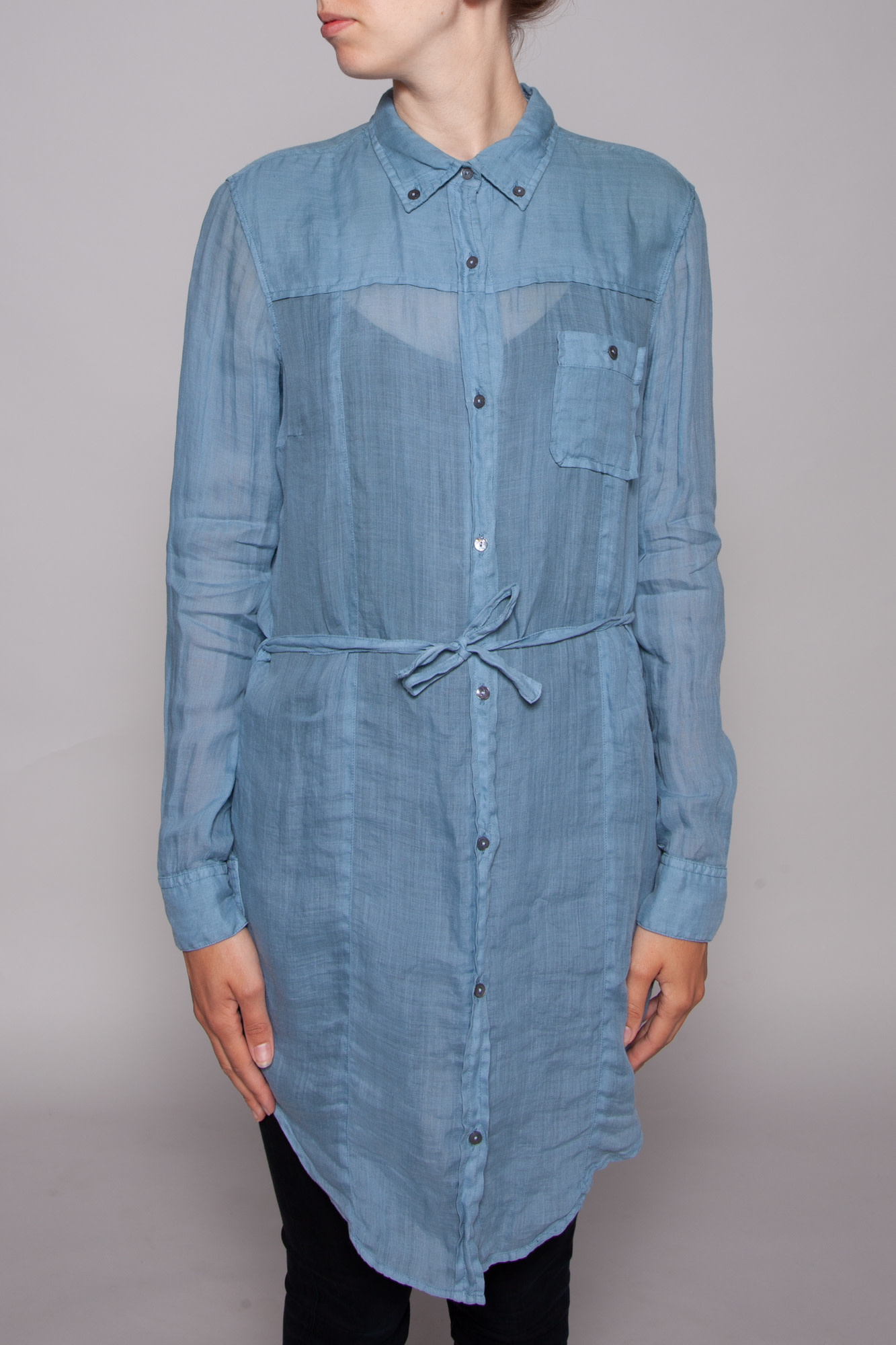 BOSS Hugo Boss BLUE RAMIE SHIRT DRESS - NEW WITH THE TAG