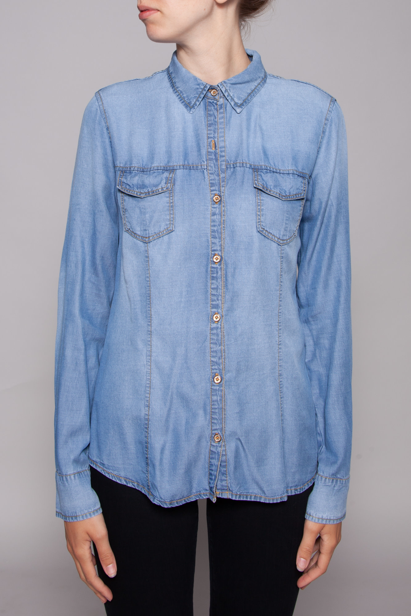 Splendid CHAMBRAY SHIRT WITH FRONT POCKETS