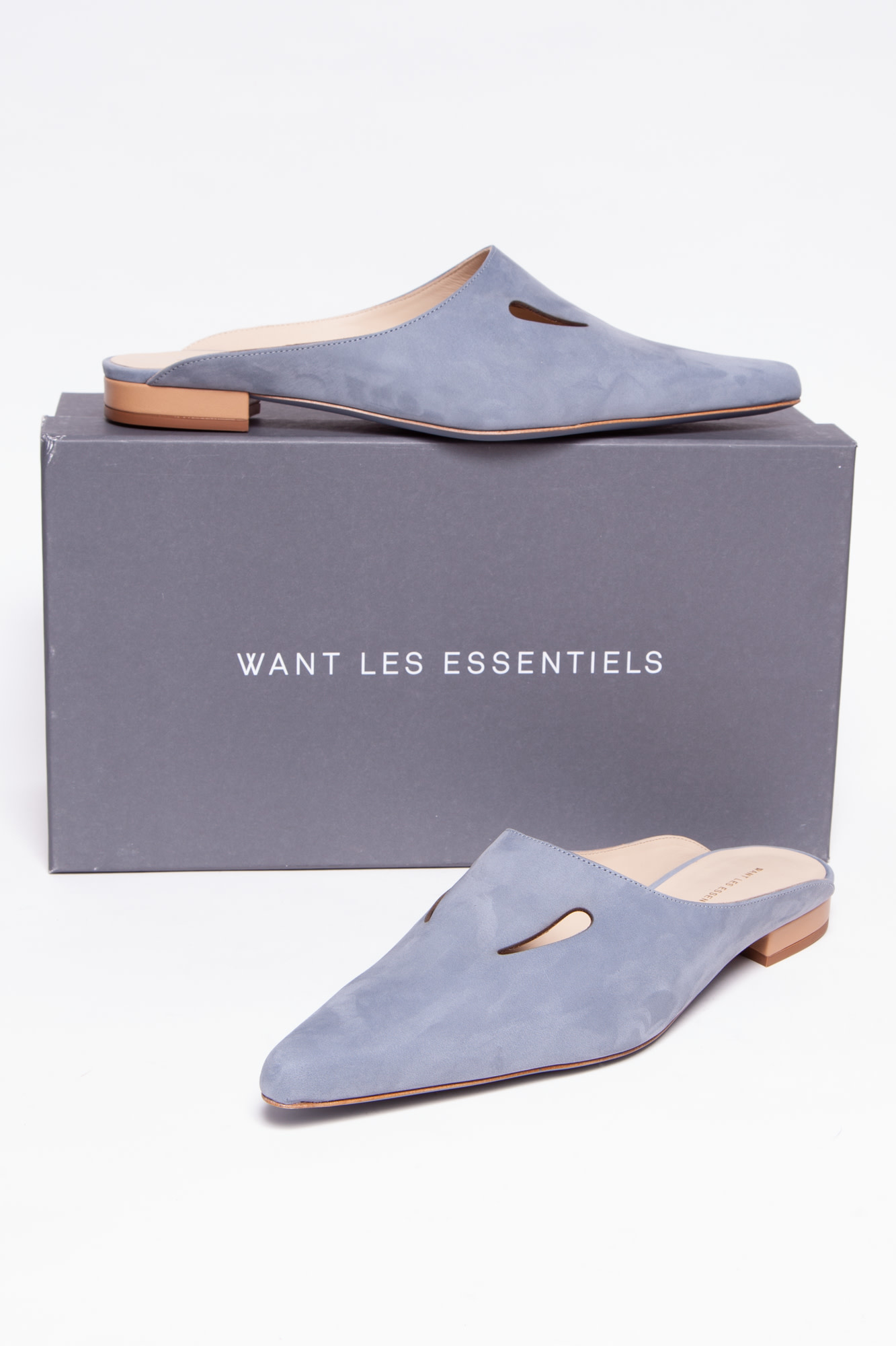 WANT Les Essentiels BLUE SUEDE MULES - NEW