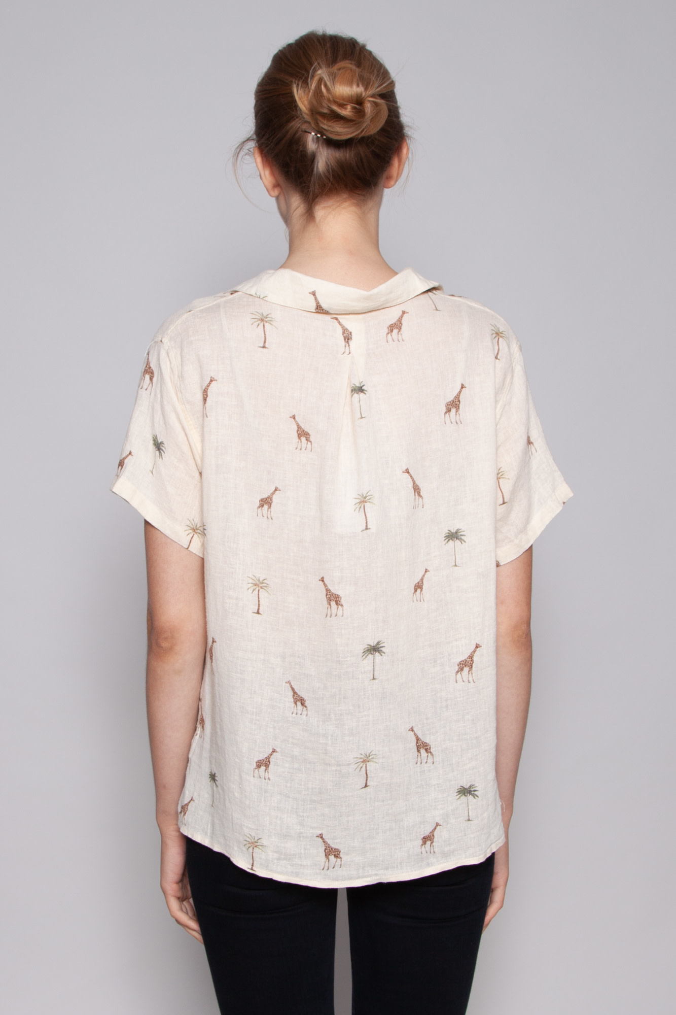 Rails GIRAFFE-PRINT LINEN BLOUSE - NEW WITH TAG (SAMPLE)