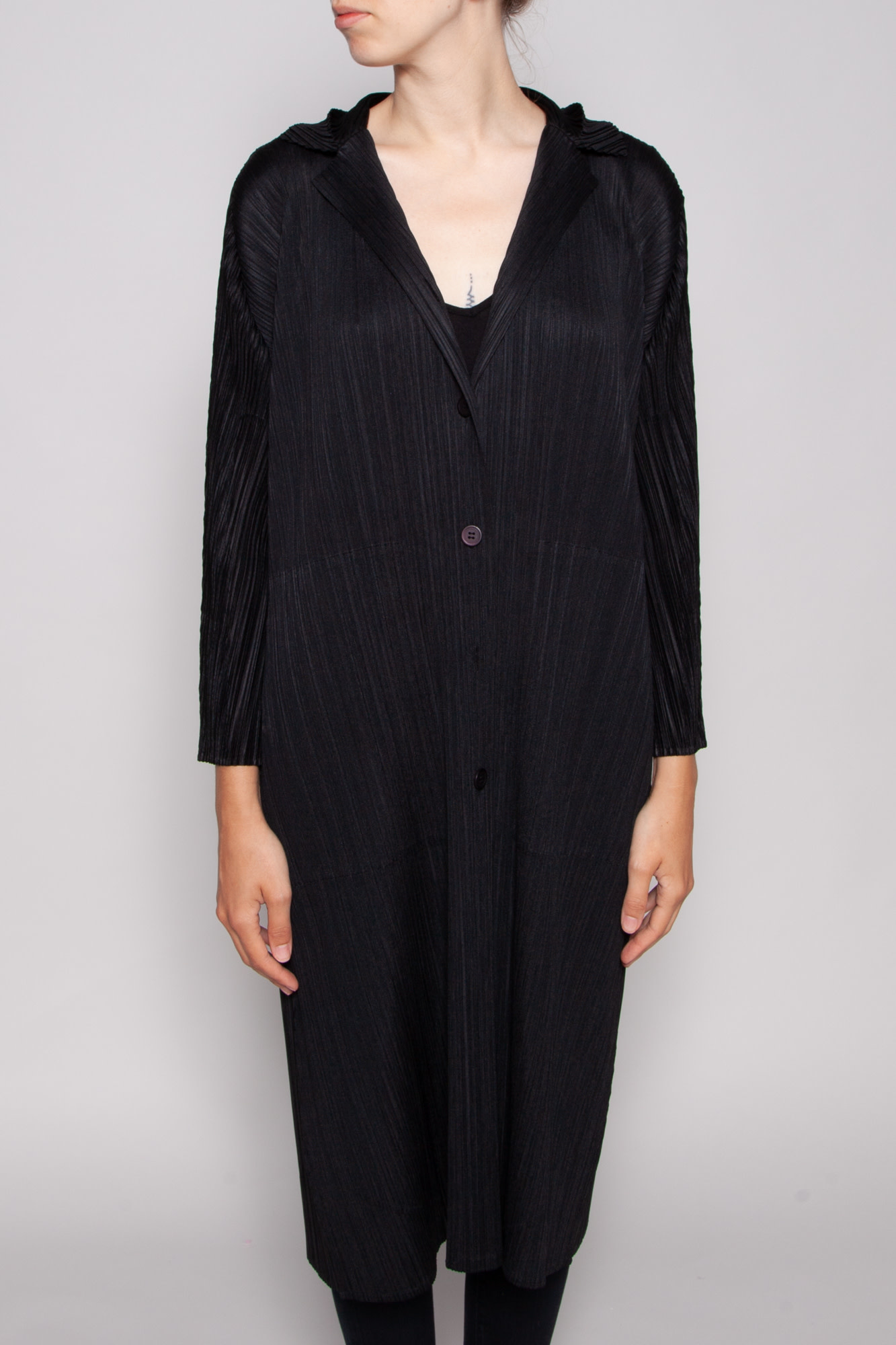 Pleats Please Issey Miyake LONG BLACK PLEATED JACKET WITH BUTTONS