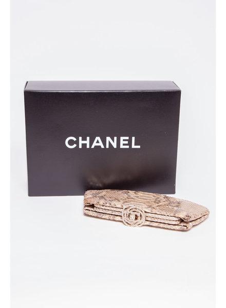 "Chanel PYTHON CRISTAL ""CAMELLIA"" CLUTCH"