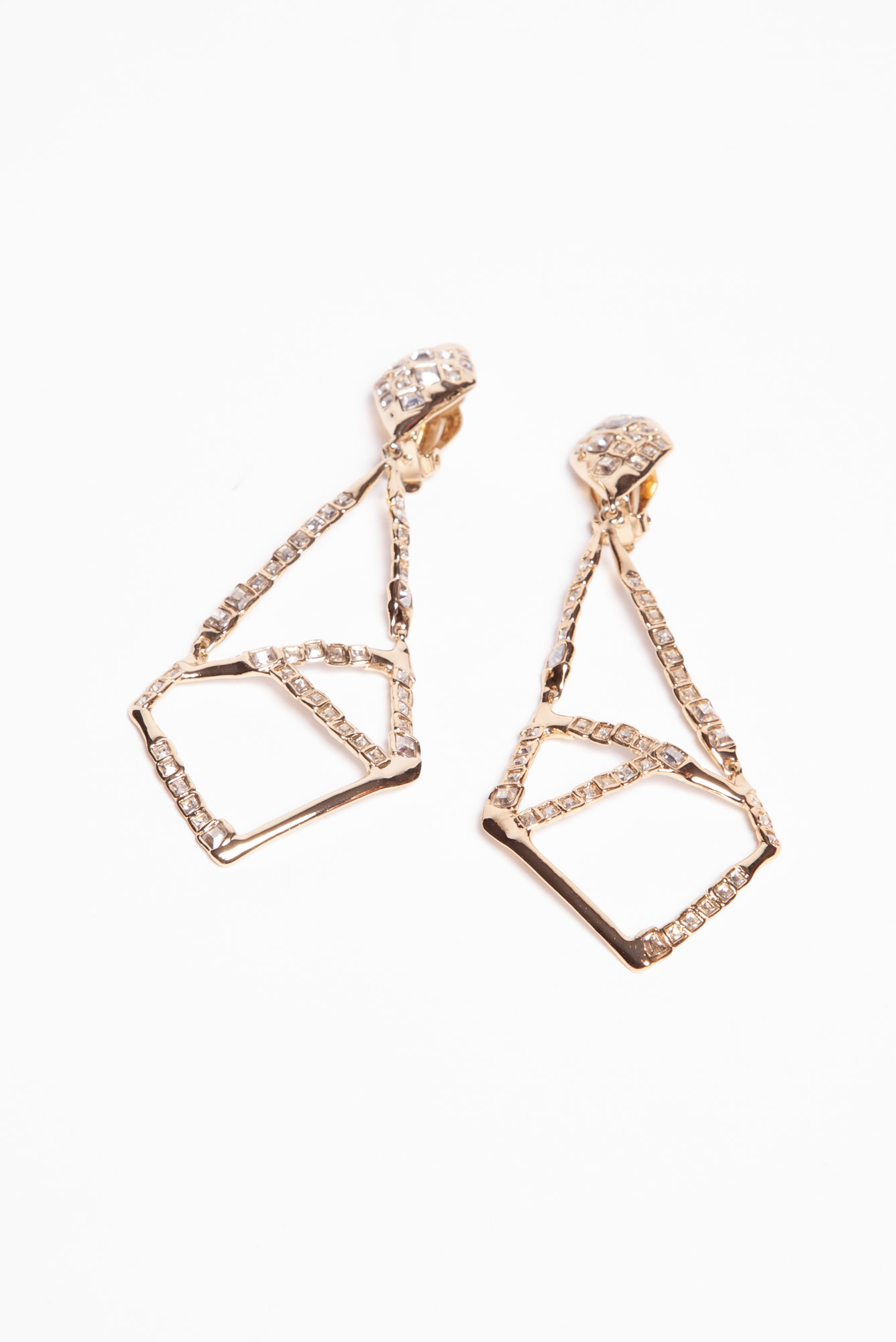 Alexis Bittar GEOMETRIC-SHAPED GOLD EARRINGS SET WITH STONE
