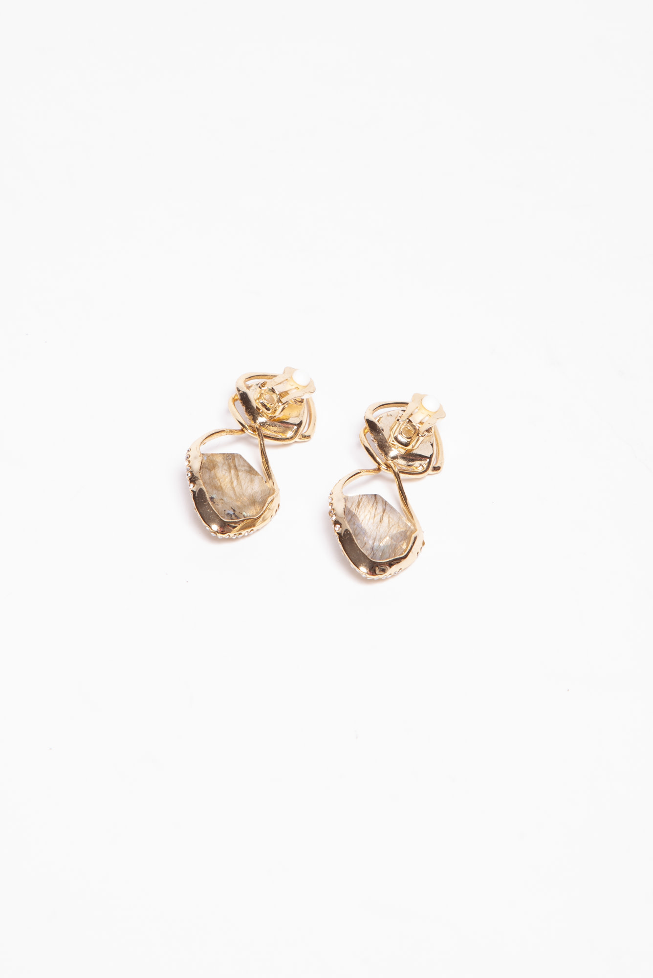 Alexis Bittar GOLD EARRINGS WITH TRANSPARENT STONES