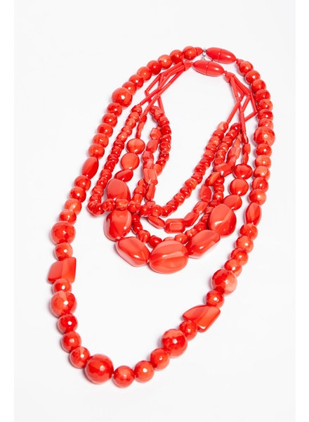 Weekend Max Mara GLOSSY RED BEAD NECKLACE
