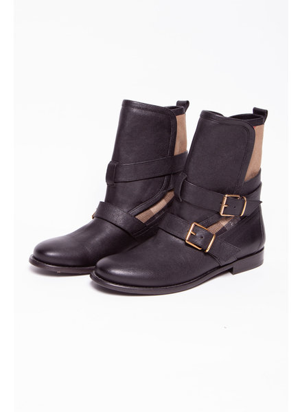 Burberry LEATHER BOOTS WITH TARTAN PATTERNS AND LOOPS