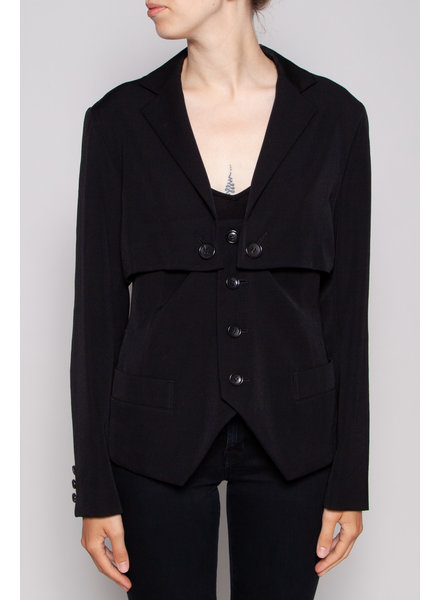 Y's by Yohji Yamamoto BLACK WOOLEN BLAZER WITH BUTTONS