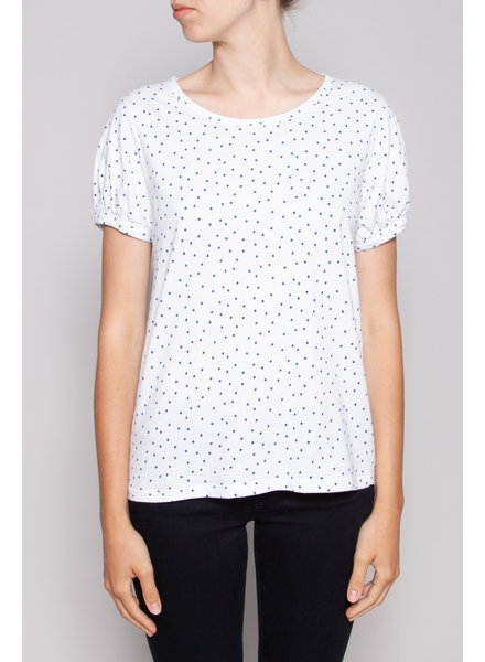 apc WHITE TOP WITH BLUE DOTS