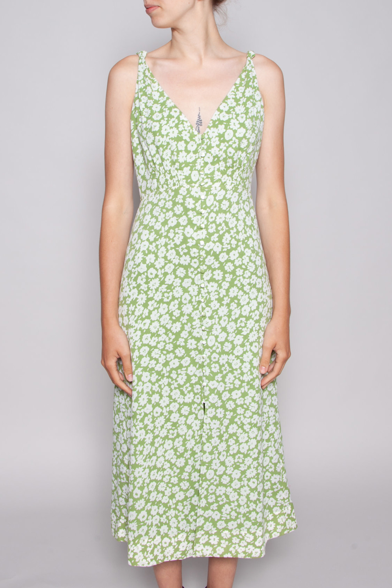 Heartloom GREEN DRESS WITH WHITE FLOWERS CORA - NEW WITH TAG