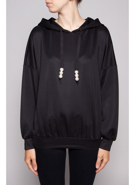 Notes du Nord OLIVE EMBELLISHED WITH PEARLS BLACK HOODIE - NEW WITH TAG