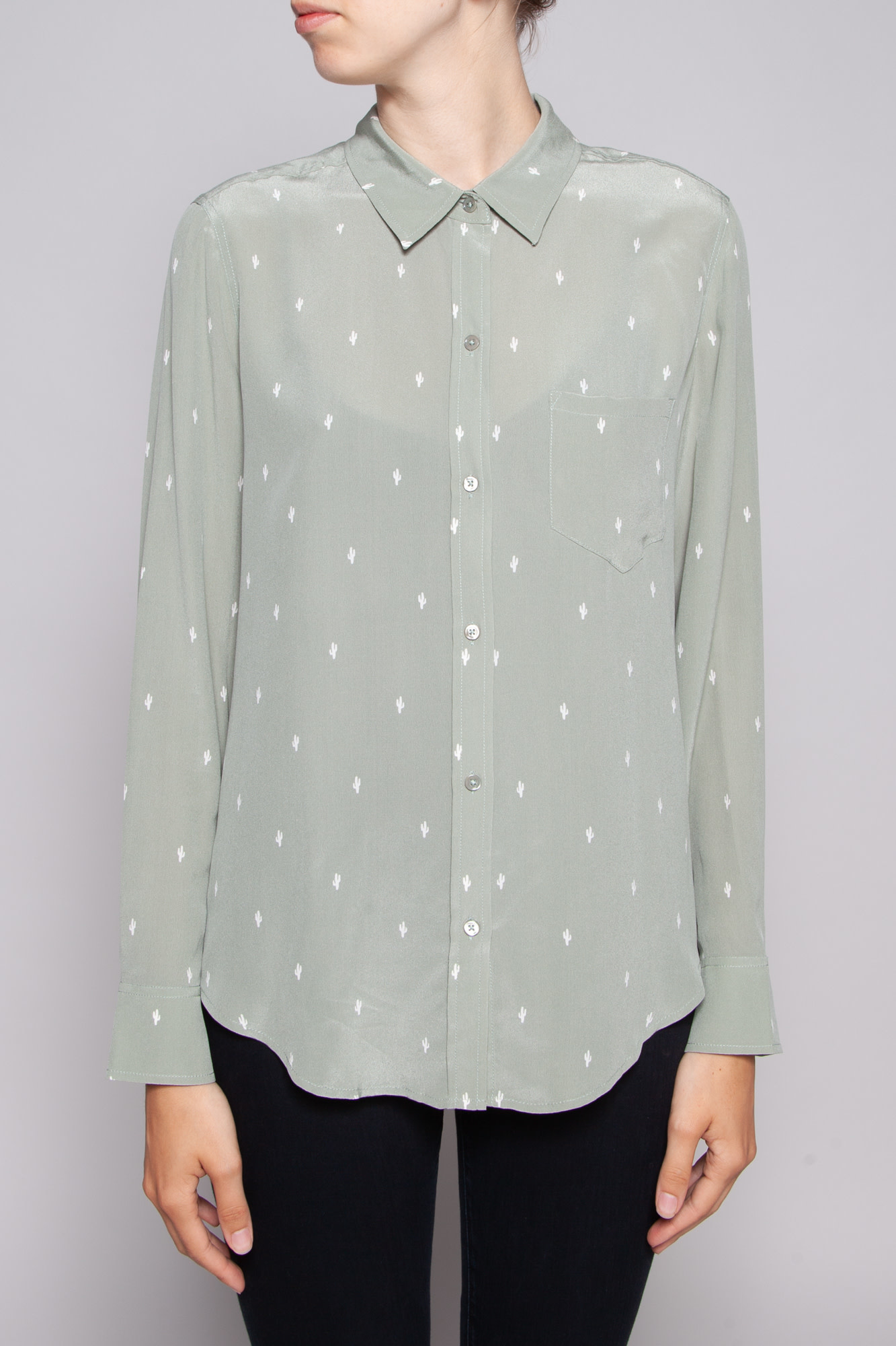 Rails GREEN CACTUS PRINT SILK SHIRT - NEW WITH TAGS