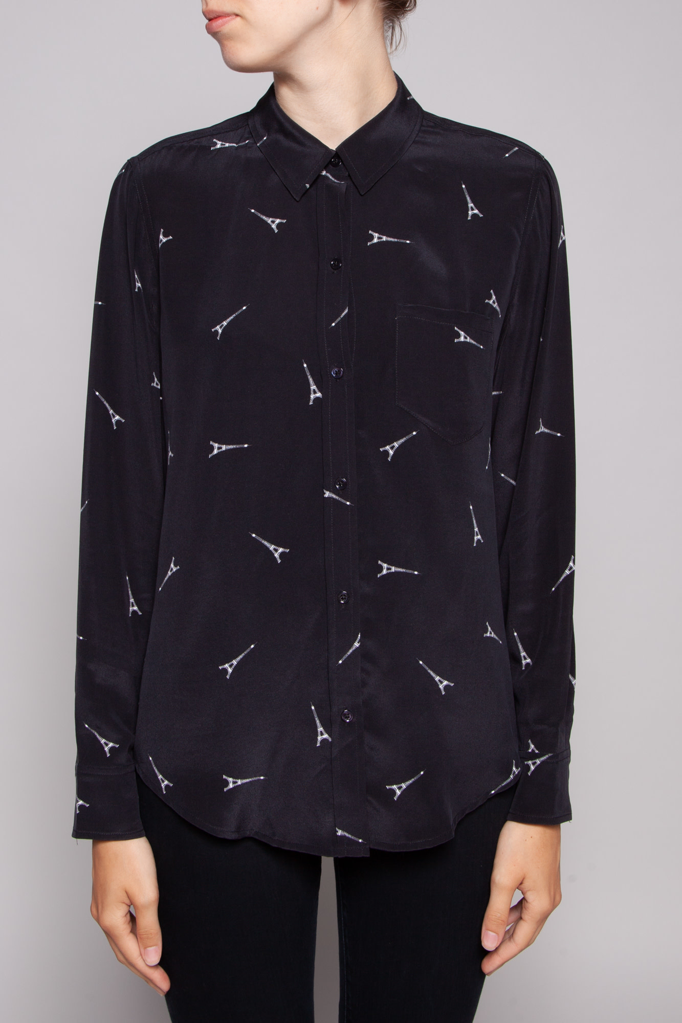 Rails BLACK SILK EIFFEL TOWER PRINT SHIRT - NEW WITH TAGS