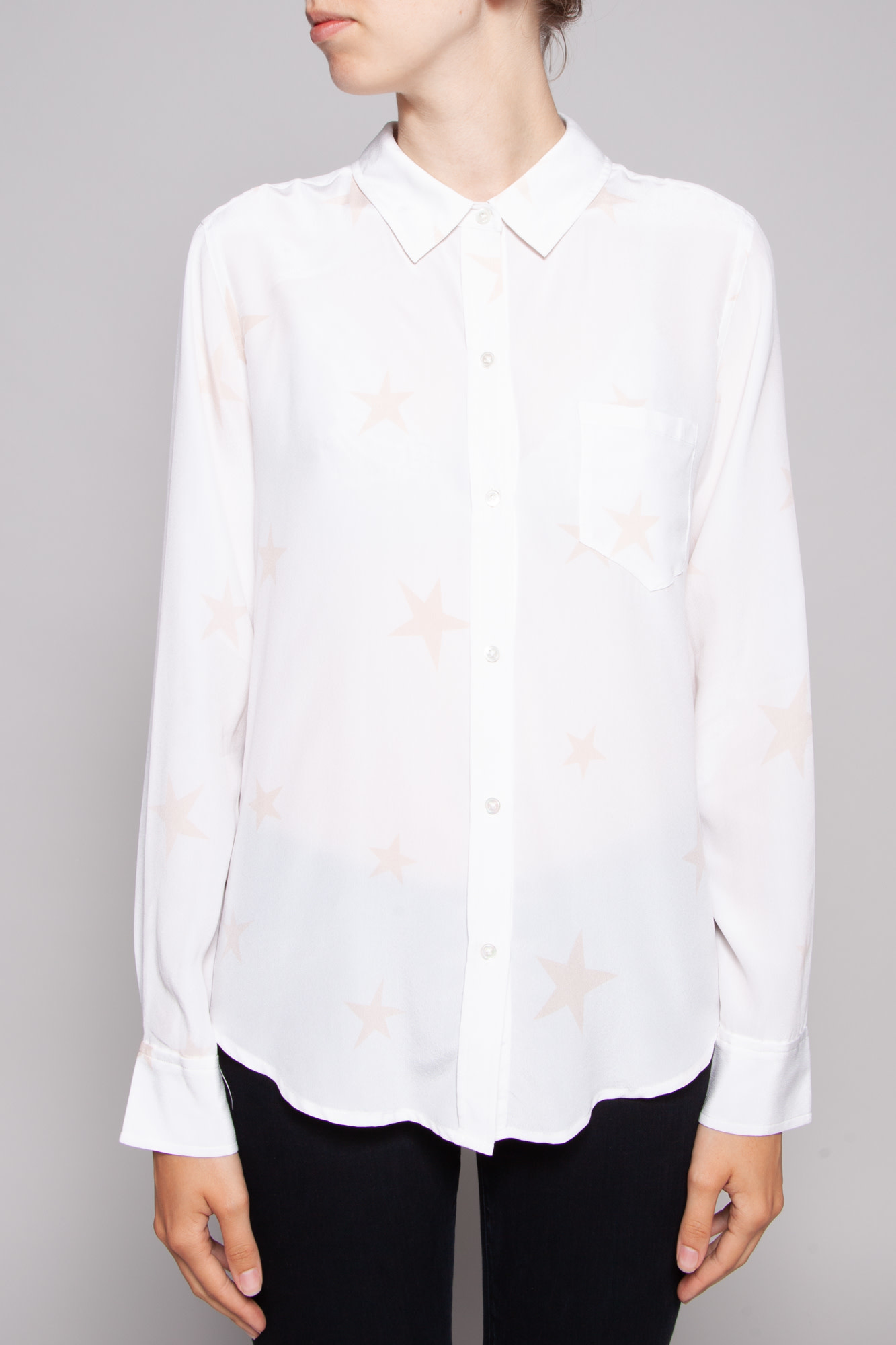 Rails WHITE SILK PINK STAR PRINT BLOUSE - NEW WITH TAGS