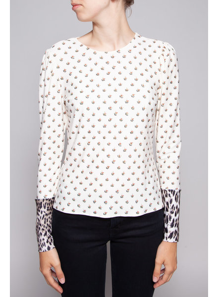 Notes du Nord FLORAL AND CHEETAH PRINT TOP - NEW WITH TAGS