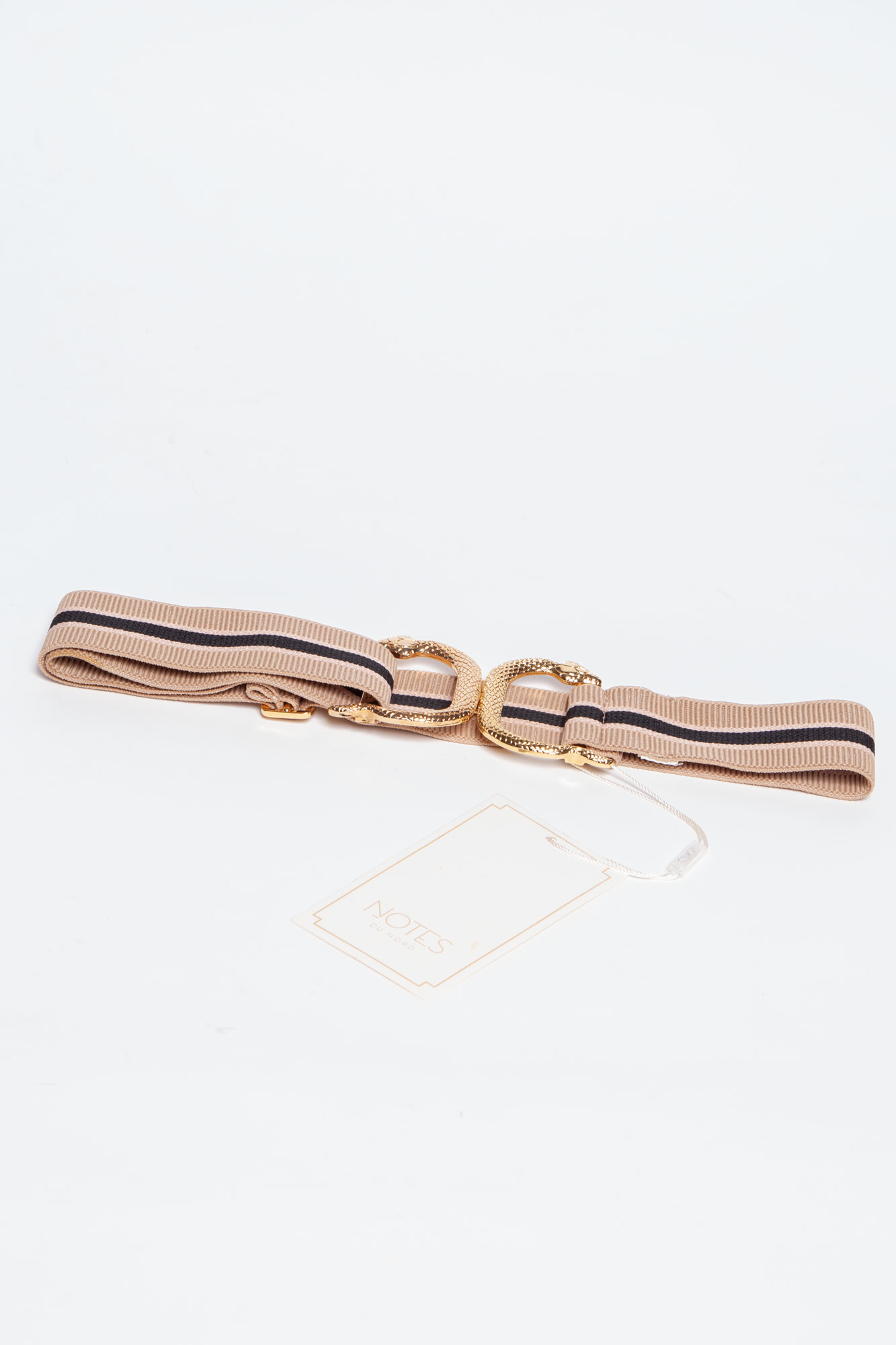 Notes du Nord BEIGE AND BLACK ELASTIC BELT WITH GOLD CLASP - NEW