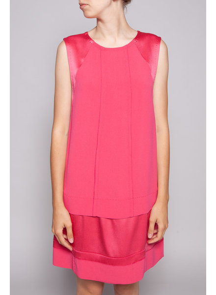 Vanessa Bruno FUSCHIA BI-MATERIAL DRESS - NEW (SIZE 10)