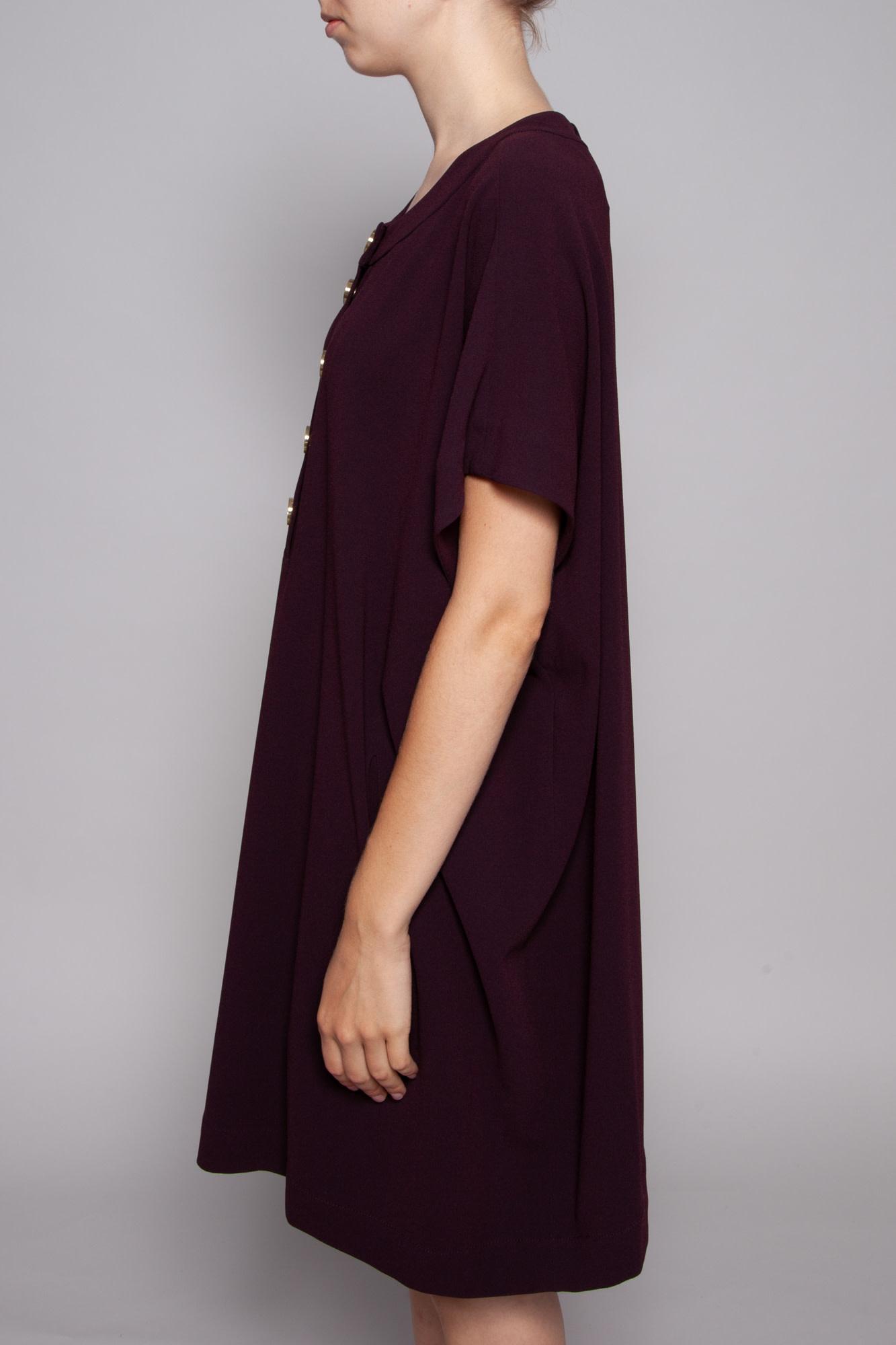 Diane von Furstenberg BURGUNDY LOOSE DRESS WITH GOLDEN BUTTONS (SIZE L)