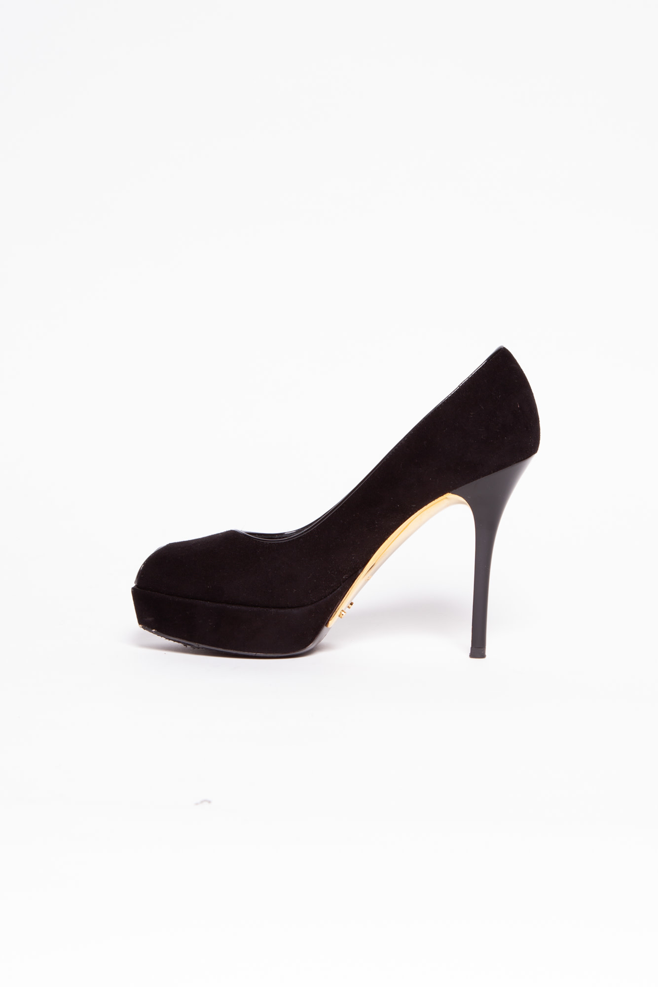 Louis Vuitton BLACK PUMPS OPEN-TOE IN SUEDE