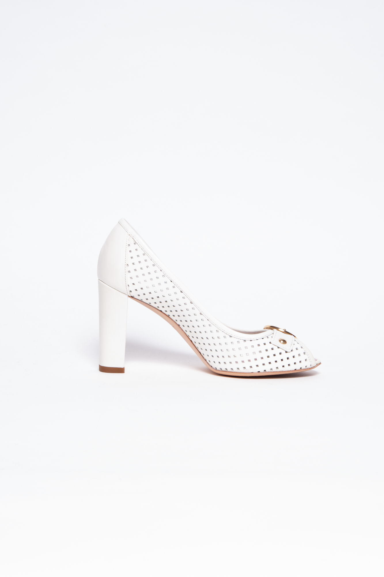Louis Vuitton WHITE PERFORATED LEATHER OPEN-TOE PUMPS