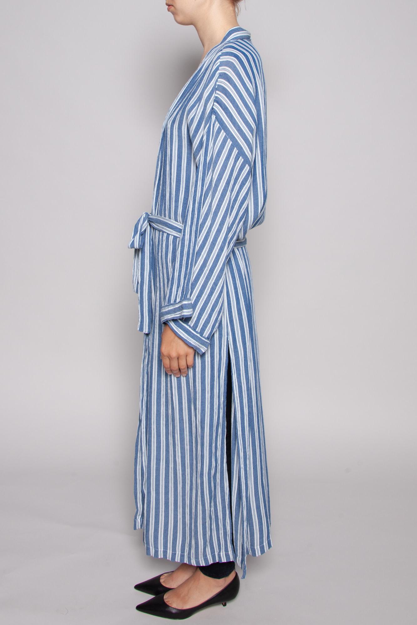 Elan BLUE AND WHITE STRIPED KIMONO WITH SIDE SLITS - NEW